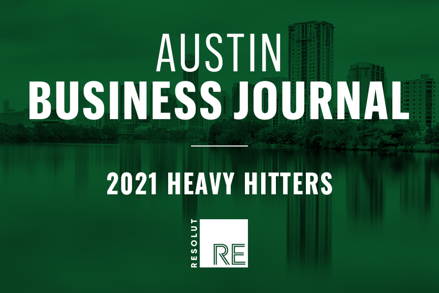 """White text on a green background, """"Austin Business Journal, 2021 Heavy Hitters."""" White RESOLUT RE logo."""