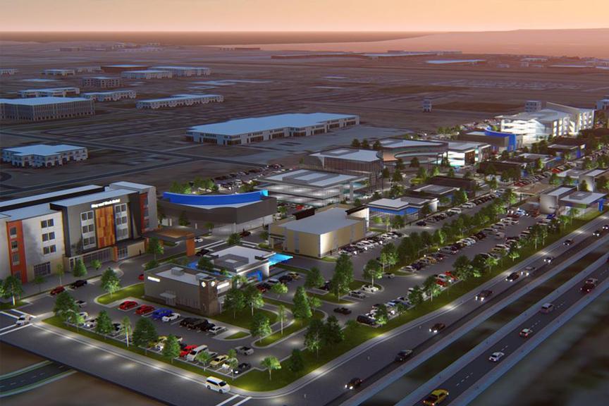 Mixed-use development exterior. Aerial concept artwork; Max Q, Albuquerque, NM.