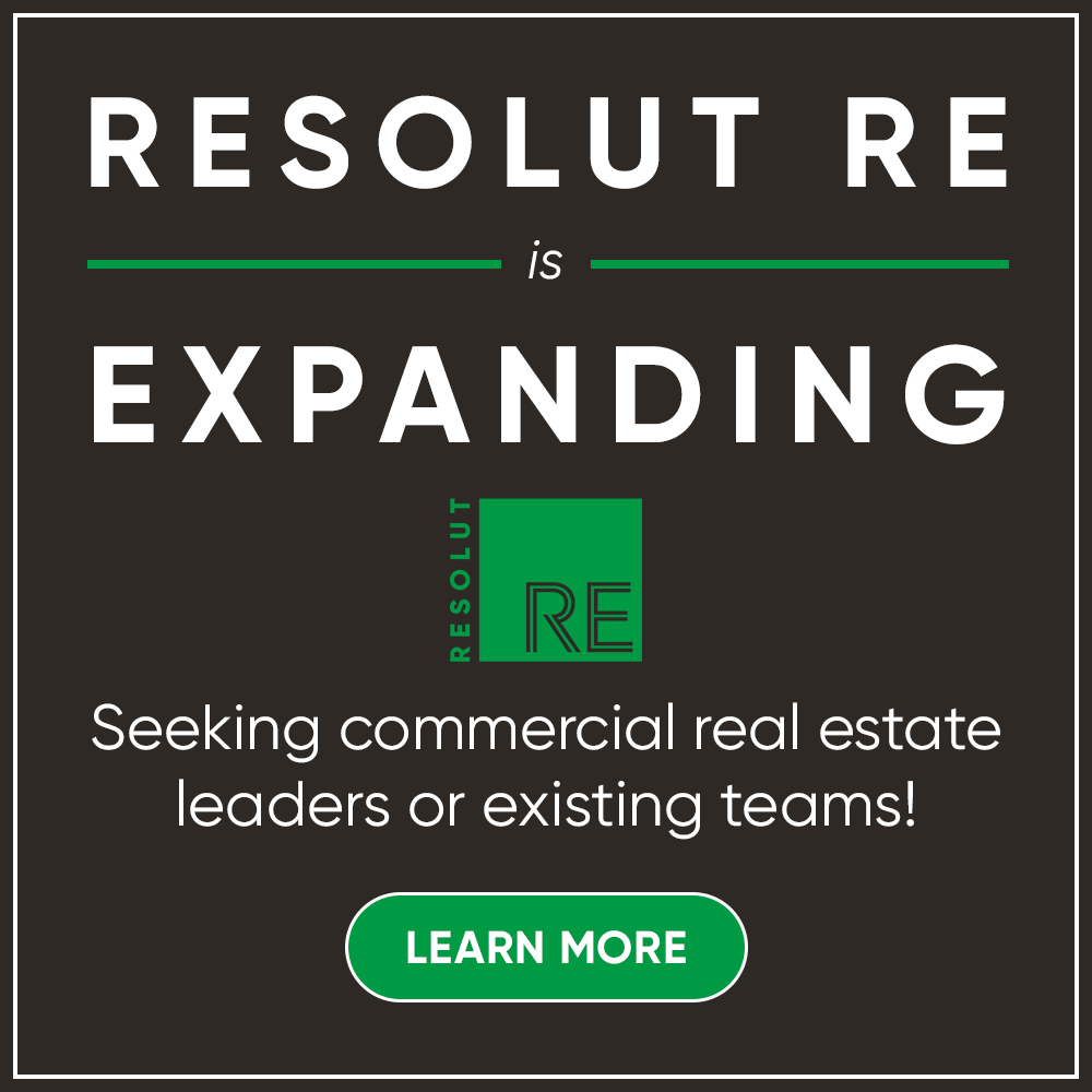 """White text on a dark grey background, """"RESOLUT RE is EXPANDING."""" Green """"LEARN MORE"""" button."""