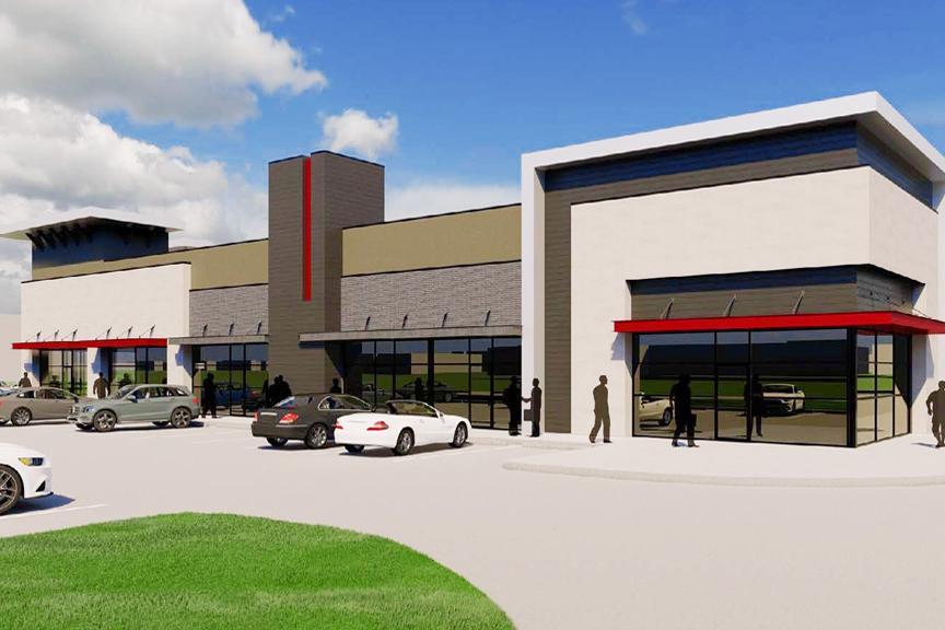 Exterior concept artwork of the Hollyhock Crossing retail center, Frisco, TX.