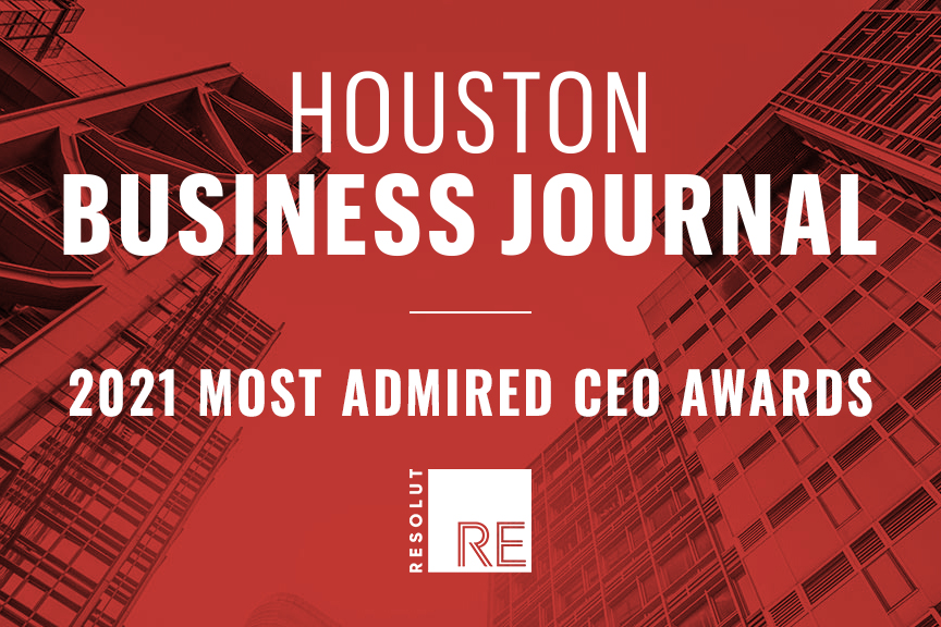 """White text on a red background, """"Houston Business Journal, 2021 Most Admired CEO Awards."""" White RESOLUT RE logo."""