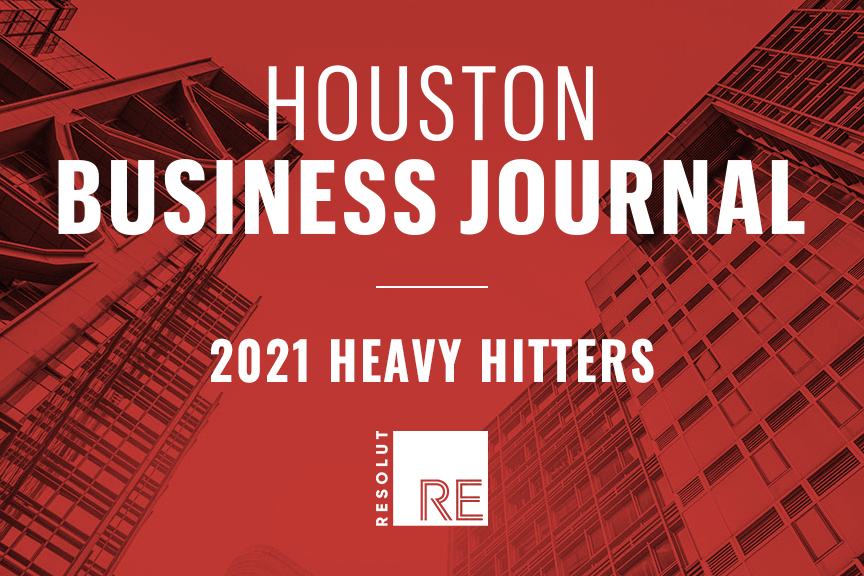 """White text on a red background, """"Houston Business Journal, 2021 Heavy Hitters."""" White RESOLUT RE logo."""
