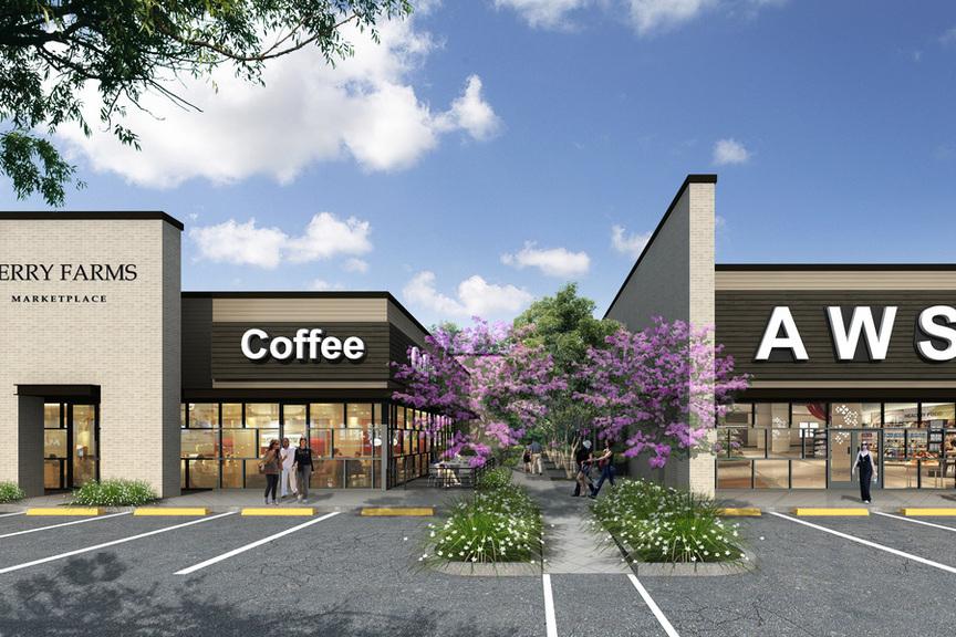 Exterior concept artwork of the Berry Farms Marketplace retail center, Spring, TX.