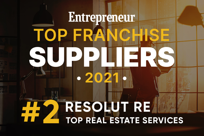 """White and yellow text on a black background, """"Entrepreneur Top Franchise Suppliers, 2021. RESOLUT RE, #2 Top Real Estate Services."""""""