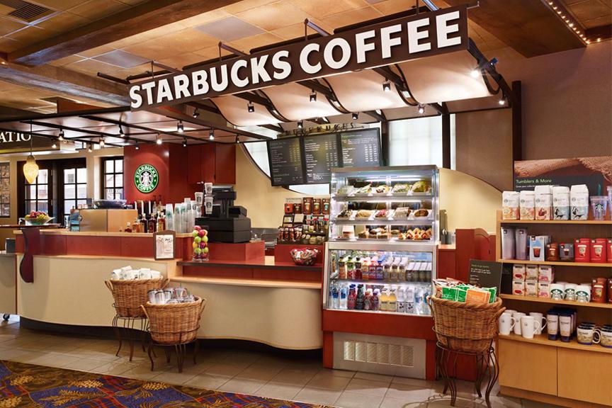Warm colored Starbucks interior in Humble, TX.