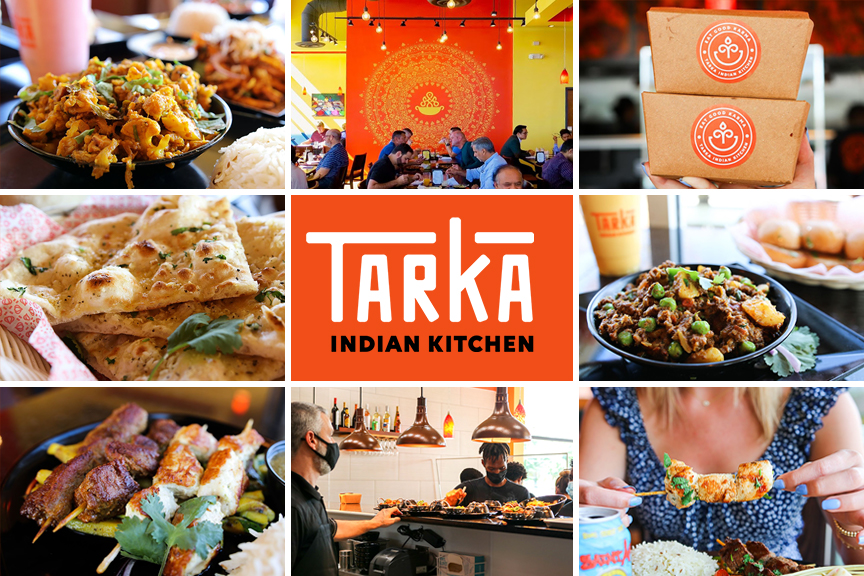 Collage featuring Tarka Indian Kitchen curries, vegetarian dishes, kabobs, packaging and interior retail locations.