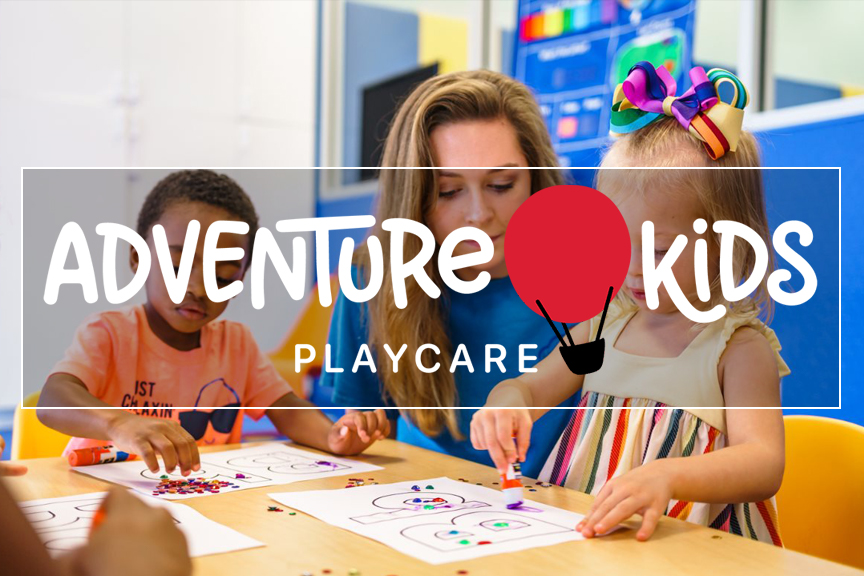 Two children and a female instructor gathered around a table, making crafts. Adventure Kids Playcare logo superimposed in the center of the image.