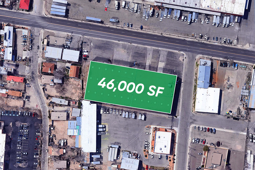 Google Maps aerial view of a 46,000 SF industrial building at 1340 Broadway Boulevard NE in Albuquerque, NM.